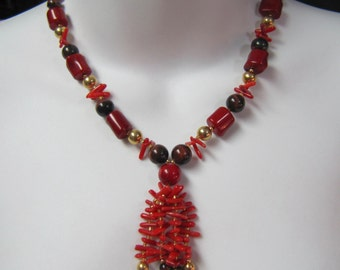 """c1980's Designers Coral, Tiger Eye, Freshwater Pearls and Gold Beaded 22"""" Necklace"""
