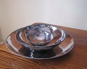 Vintage Michael Arams Molten Silverplated Bowl Set, Designer Serving Bowls