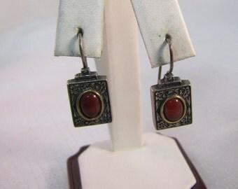 Victorian Inspired Carnelian Sterling Earrings