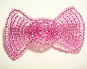 Pink Hair Bow Fascinator - Large Victorian Beaded Hairbow - Silverlined Collection