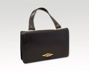 French Vintage, Brown Leather Handbag, Top Handle Bag, Purse 1960's