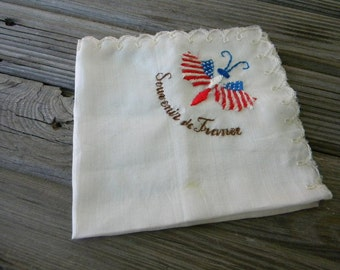 France butterfly hankerchief embroidered silk souvenir 1920s vintage