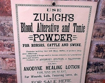 1890s tonic sign antique advertisement for tonic and lotion unused stocks snake oil
