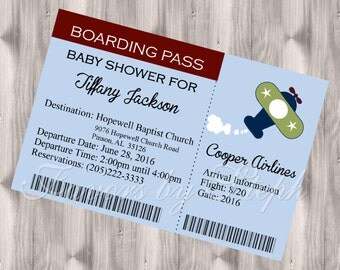Airplane Ticket / Boarding Pass Baby Shower / Birthday Invitations PRINTED qty 30