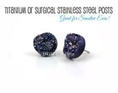 Iridescent Gunmetal Teal Druzy Stud Earrings - Black Rainbow 12mm Faux Druzy Post Earrings -  Titanium or Stainless Steel Studs