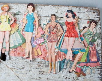 Vintage Paper Doll Lot No. 5 Paper Paper Ephemera Pinup Pin Up Girl