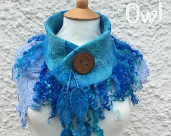 Mermaid accessory-Sea Blue lace scarf-Lace and Felt Cowl - blue Cowl -fairy bride- scarf-unique scarf - wool cowl - lace scarf- mermaid