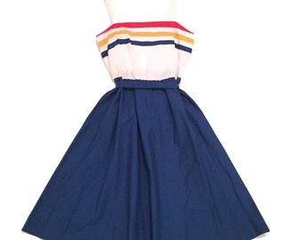 Vintage 70s Handmade Striped Summer Dress