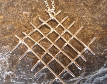 Sterling Silver Large Mesh Crossed Wire Organic Pendant Necklace, on sterling silver chain