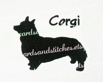 """Corgi Embroidery - Corgi Silhouette Embroidery Design - Machine Embroidery - Instant Download - Two Sizes 4""""x4"""" and 5""""x7"""" - Seven Formats"""