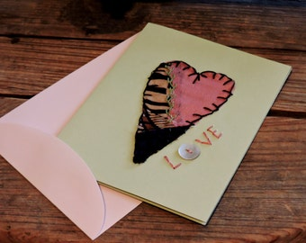 Sweetheart Valentines Day Card, Prim Paper-Stitched Patchwork Heart Greeting Love Note, Thank You, Party Invitation Card itsyourcountry