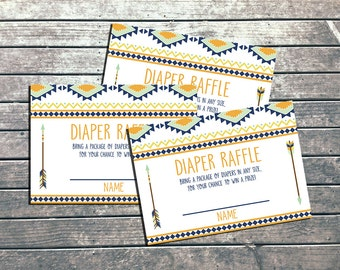 Boho Tribal Baby Diaper Raffle Tickes Printable Baby Boy Tribal Arrow Baby Shower Game DIY Woodland Feather Baby Wishes - INSTANT DOWLOAD
