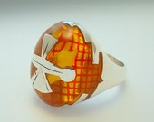 On Sale . RED GRID RING. Silver Art