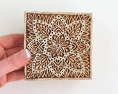 Hand Carved Wood Stamp: Large Indian Square Wooden Printing Block, Flower Stamp, Mehndi Henna Tattoo Stamp, Textile Pottery Stamp, India