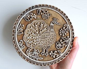 Large Peacock Stamp, Bird Stamp, Wooden Clay or Textile Stamp, Wood Peacock, Hand Carved Wood Stamp, Scalloped Indian Printing Block