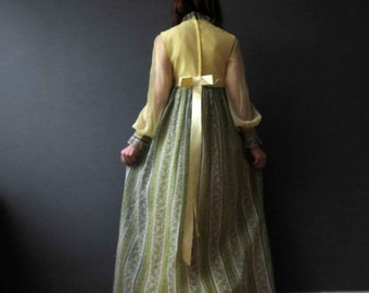 70s Chartreuse Green Yellow Waverely Floral Maxi Dress Boho Small Lace Cotton Lawn