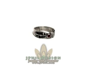 Steampunk Garnet Power Core Silver Ring