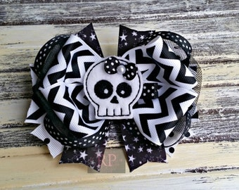 Tulle Boutique Hairbow with Felt Skull Center - Punk Hair Clip - Hand Sewn