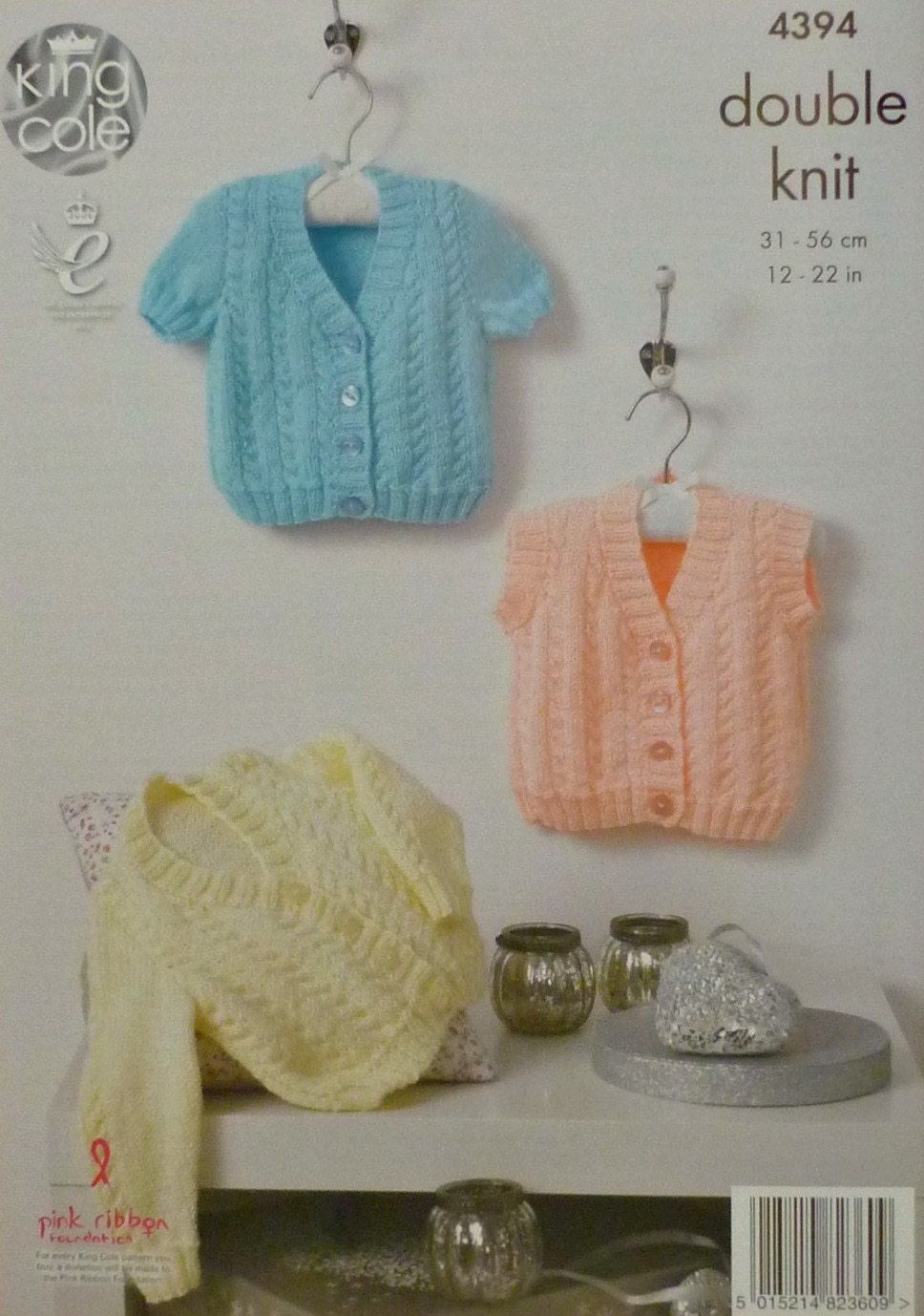 Baby Knitting Pattern K4394 Babies Short Sleeve V-Neck Cable Cardigan Knittin...