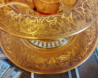 Cambridge Glass Gold Encrusted Etched Pattern Condiment / Mayonnaise 3 Piece Set Amber Color
