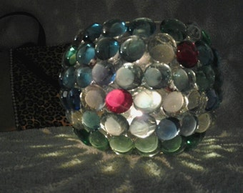 Handmade multicolor beaded candleholder/candy holder.