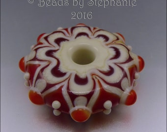 LAMPWORK MANDALA/DISK Bead – Ivory & Orange - Handmade Jewelry Supplies - by Stephanie Gough sra fhfteam leteam