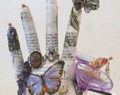 FREE Ship-Antiqued Text Butterfly Fabric Hand Jewelry Display REGULAR Style HAND-Stand