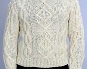 SALE White Sweater unisex XL mens, XL womans knit