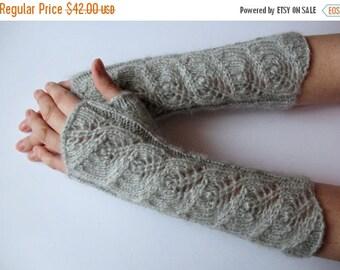 "Gray Fingerless Gloves Mittens light gray 11"" Arm Warmers, Soft acrylic, mohair"