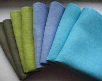"Linen Napkin Serviette Rustic Burlap Turquoise Blue Purple Moss Green set of 8 - Flax - 17.3"" x 11.8""  size"