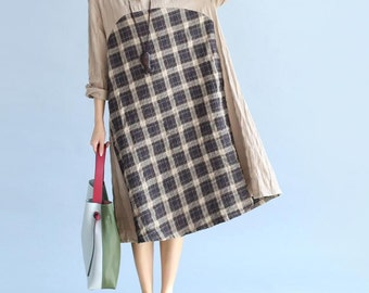 Soft comfortable Cotton and linen Loose Fitting dress plaid stitching loose long dress