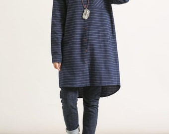 Dark blue cotton loose long sleeved shirt Women gown