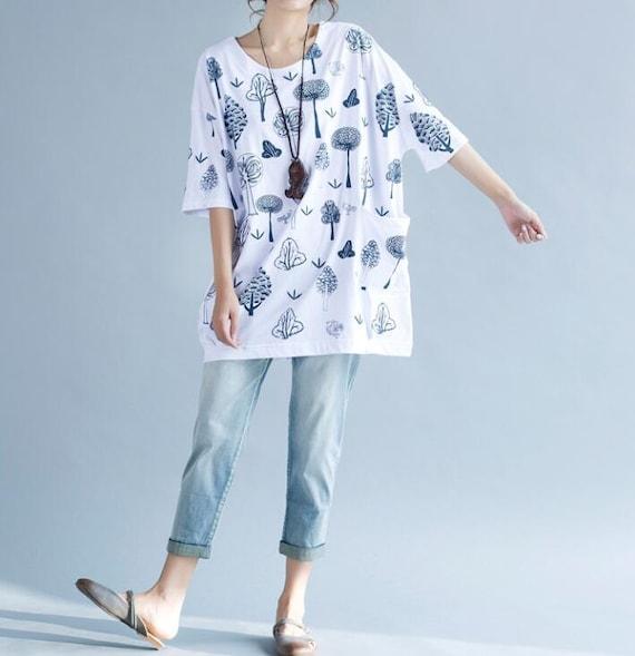 Summer Loose T-Shirt  Large size cotton round neck women T-Shirt