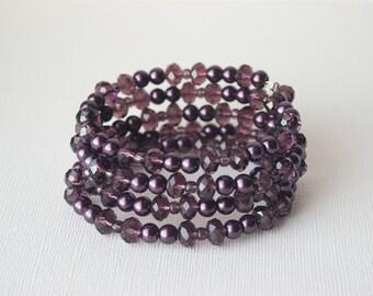 Purple Bracelet, Bohemian Bracelet, Gypsy Bracelet, Violet Bracelet, Plum Bracelet, Sparkle Bracelet, Statement Bracelet, Trending
