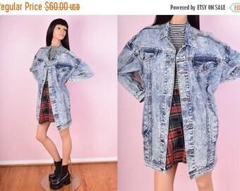 SUMMER SALE 80s Oversized Acid Wash Denim Jacket/ One Size/ 1980s/ Jean Jacket/ Stone Wash