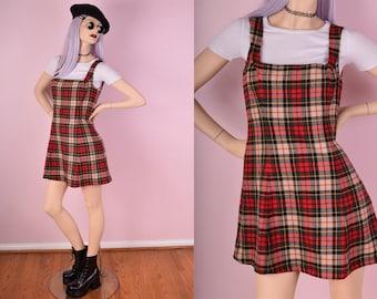 90s Betsey Johnson Plaid Jumper Dress/ Small/ 1990s/ Tartan/ School Girl/ Clueless