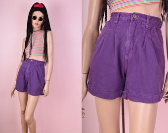 80s Purple High Waisted Denim Shorts