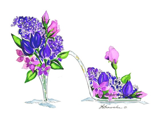 Princess Purple Glass Slipper Flower Shoe  2012 - Enhanced with Watercolor Paint and signed