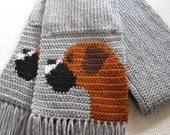Gray Boxer scarf. Grey crochet and knitted scarf with fancy boxer dogs