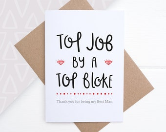 Thank You Best Man Card - Thank you for being my Best Man - Best Man Card - Best Man Gift - Card for Groomsman