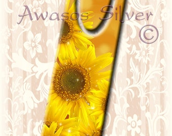 Metal bookmark with high quality printed original images. Sunflowers high quality metal bookmark.