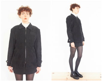 90s Avante Garde Tailored Black Corduroy Jacket
