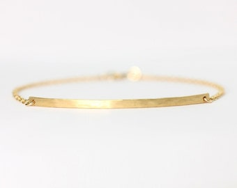 Long curved gold bar bracelet - 14k gold filled bar bracelet