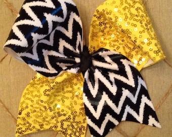 Yellow Chevron Cheer Bow
