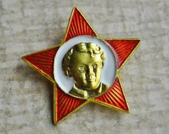 Vintage Soviet aluminum badge. Lenin.