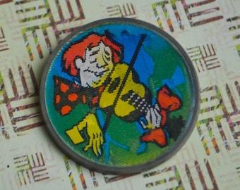 "Vintage Soviet Russian plastic mirror badge, pin. ""Soviet Circus"""