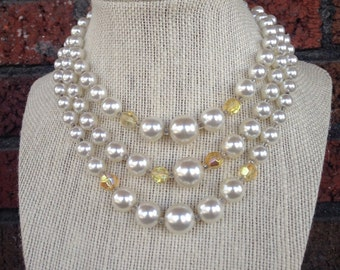 Vintage 3-chain Pearlescent & Yellow iredescent Necklace