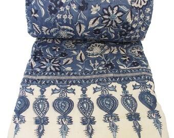 "Queen Quilt - Anatolia Blue 100% hand block printed cotton - 90"" x 108"""