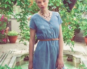 V-Neck Tencel Dress, with Elastic Waist and Pockets, Blue Chambray