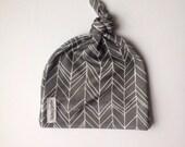 Organic gray herringbone baby knotted hat